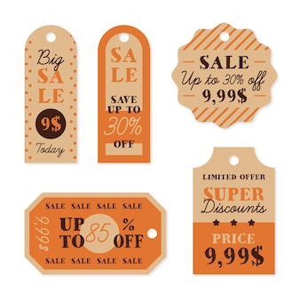 Pacote de etiquetas de venda vintage