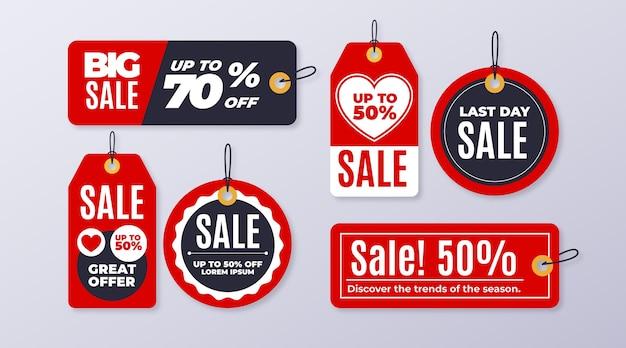 Pacote de etiquetas de vendas de design plano