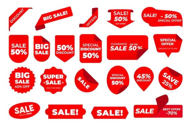 Pacote de etiquetas de vendas