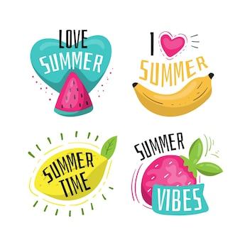 Pacote de etiquetas de verão desenhada de mão