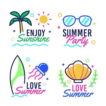 Pacote de etiquetas de verão plana