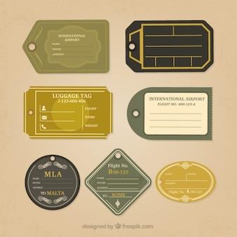 Pacote de etiquetas de viagem verdes
