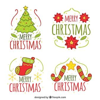 Pacote de etiquetas desenhadas a mão do natal