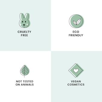 Pacote de etiquetas desenhado à mão livre de crueldade