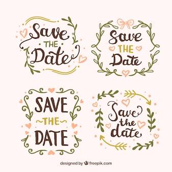 Pacote de etiquetas do casamento no estilo do vintage