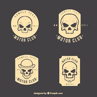 Pacote de etiquetas do crânio do vintage