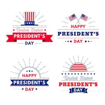 Pacote de etiquetas do dia do presidente