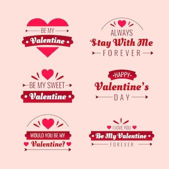 Pacote de etiquetas do dia dos namorados de design plano