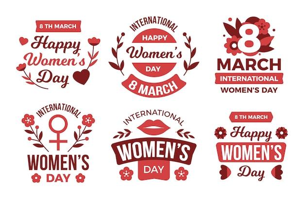 Pacote de etiquetas do dia internacional da mulher com design plano