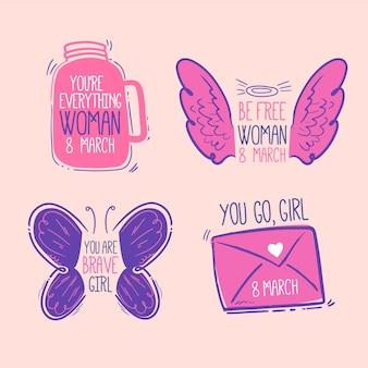 Pacote de etiquetas do dia internacional da mulher desenhada à mão