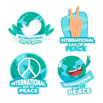 Pacote de etiquetas do dia internacional da paz