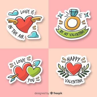 Pacote de etiquetas dos desenhos animados dos namorados