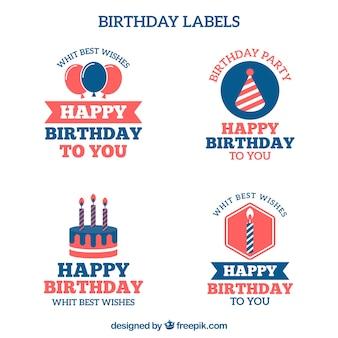 Pacote de etiquetas felizes do feliz aniversario