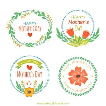 Pacote de etiquetas florais para o dia da mãe