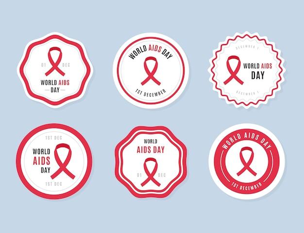 Pacote de etiquetas para o dia de aids