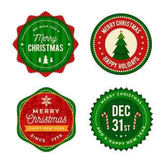 Pacote de etiquetas planas de natal