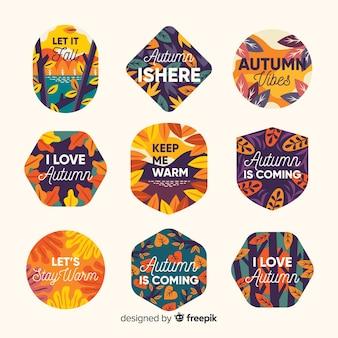 Pacote de etiquetas planas de outono