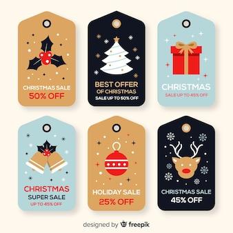 Pacote de etiquetas planas de vendas de natal