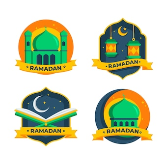Pacote de etiquetas plano ramadan