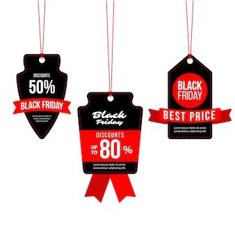 Pacote de etiquetas pretas de liquidação de sexta-feira com fitas vermelhas