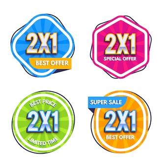 Pacote de etiquetas promocionais coloridas