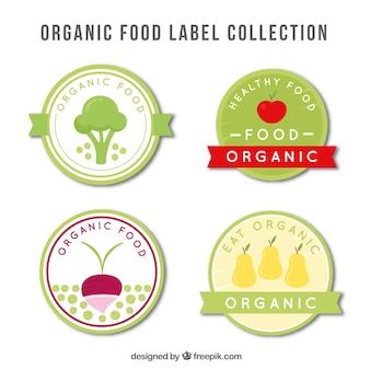 Pacote de etiquetas redondas planas com produtos alimentares