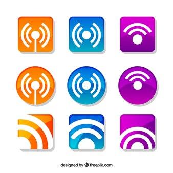 Pacote de etiquetas wifi coloridas