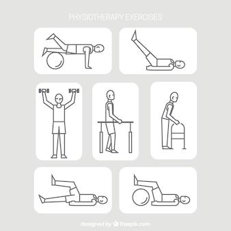 Pacote de exercícios de reabilitação em estilo linear