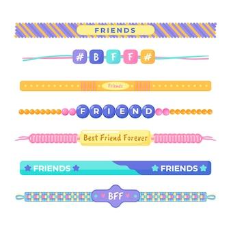 Pacote de faixas coloridas de amizade