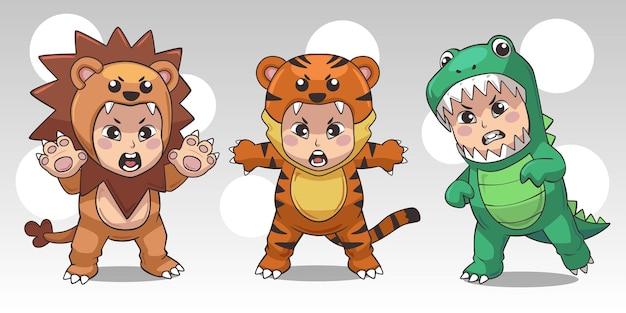 Pacote de fantasias de animais infantis, leão, dinossauro e tigre