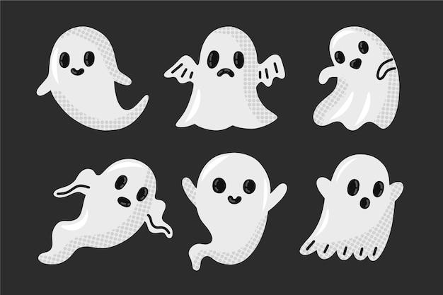 Pacote de fantasmas de halloween desenhado à mão