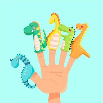 Pacote de fantoches de dedo desenhados à mão