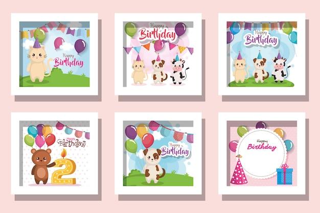 Pacote de feliz aniversário de cartões com animais fofos e decoração