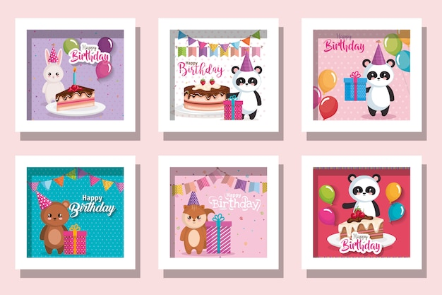 Pacote de feliz aniversário de cartões com animais fofos