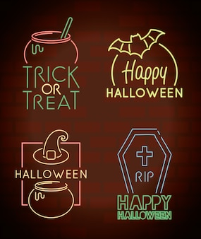 Pacote de feliz dia das bruxas com ícones e inscrições em luz de néon