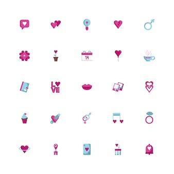 Pacote de feliz dia dos namorados conjunto de ícones