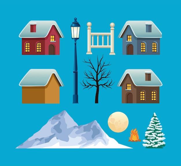 Pacote de feliz natal com ilustração de cenas de inverno