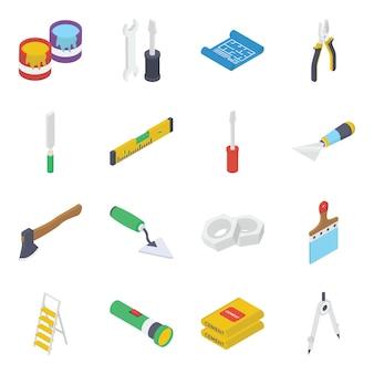 Pacote de ferramentas e equipamentos de construção