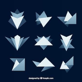 Pacote de figuras abstratas em tons azuis