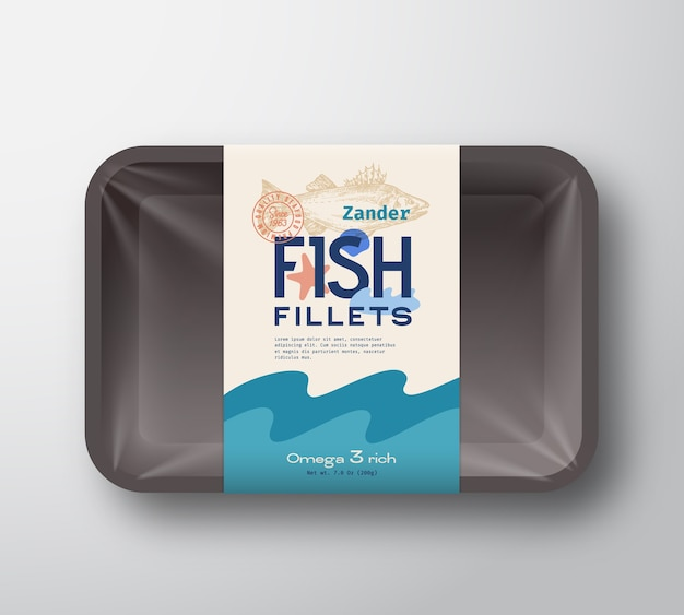 Pacote de filetes de peixe. recipiente de bandeja de plástico de peixes abstratos com tampa de celofane. embalagem