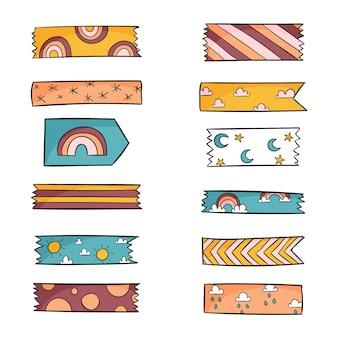 Pacote de fita washi desenhado à mão