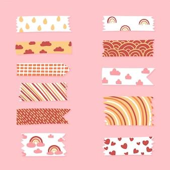 Pacote de fita washi desenhado