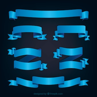 Pacote de fitas decorativas azuis