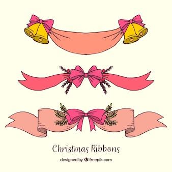 Pacote de fitas decorativas de natal desenhadas a mão