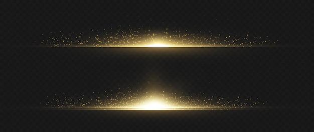 Pacote de flares de lente horizontal amarela. feixes de laser, raios de luz horizontais. luzes lindas. listras brilhantes em fundo escuro. fundo forrado cintilante abstrato luminoso.