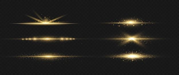 Pacote de flares de lente horizontal amarela. feixes de laser, raios de luz horizontais.