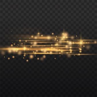 Pacote de flares de lente horizontal amarelo flash, feixes de laser, raios de luz horizontais, reflexo de luz bonito, linha de brilho amarelo, brilho dourado brilhante, ilustração vetorial