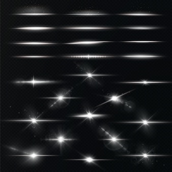 Pacote de flares de lente horizontal branca. raio laser. belos brilhos de luz. estrela branca.