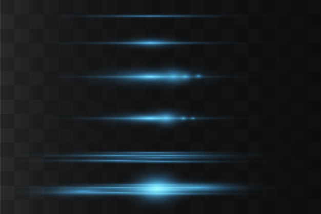 Pacote de flares de lente horizontal. feixes de laser, raios de luz horizontais. listras brilhantes em fundo escuro.
