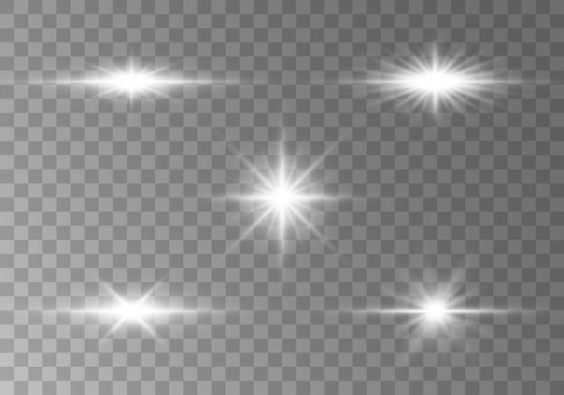 Pacote de flares de lente horizontal, feixes de laser. raios de luz. linha de brilho em fundo transparente.